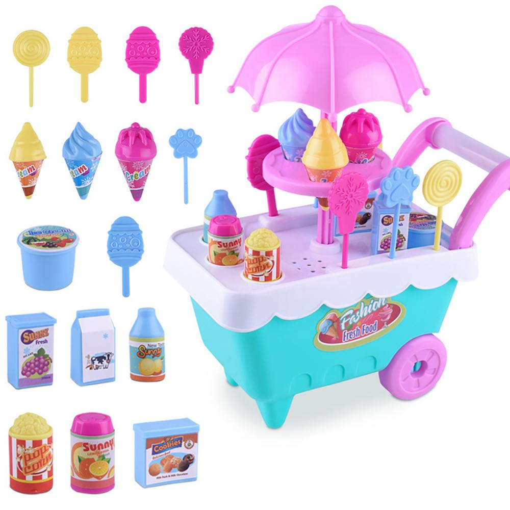 Lovely Simulation Candy Lollipop Ice Cream Plastic Trolley Cart Play Set Funny Pretend Play Groceries Toy With Wheels Kid Gift