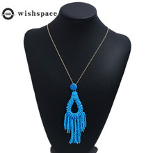Europe and the United States exaggerate big m bead necklace multi-layer weave a Bohemian long tassels women