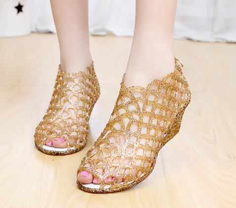 2018 Hollow Out Summer Sandals Women Peep Toe Wedge Sandals Sweet Jelly  Shoes Woman Shoes For Lady Size Plus -in Low Heels from Shoes on  Aliexpress.com ... c5e580b13648