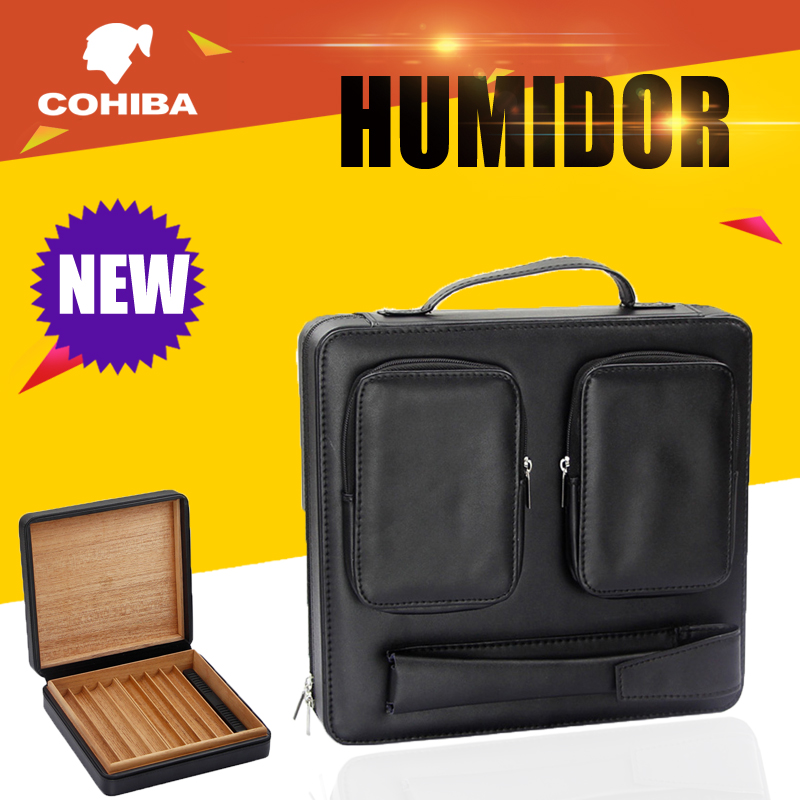 GALINER Cigar Humidor Portable Travel Leather Cigars Box Cedar Wood Case Humidor Cigar Accessories With humidifier For CohibaGALINER Cigar Humidor Portable Travel Leather Cigars Box Cedar Wood Case Humidor Cigar Accessories With humidifier For Cohiba