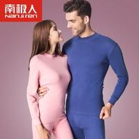 NANJIREN Men Women Long Johns Set Winter Warm Semi High Collar Pure Color Soft Cotton Thin