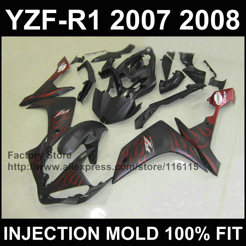 Road motorcycle injection ABS fairings kit for YAMAHA 2007 2008 YZF R1 YZFR1 07 08 red flame matte black fairing kits+tank cover injection molding motorcycle parts for yamaha yzf r1 2007 2008 fairings set yzf r1 07 08 all matte silver abs fairing kit qz54