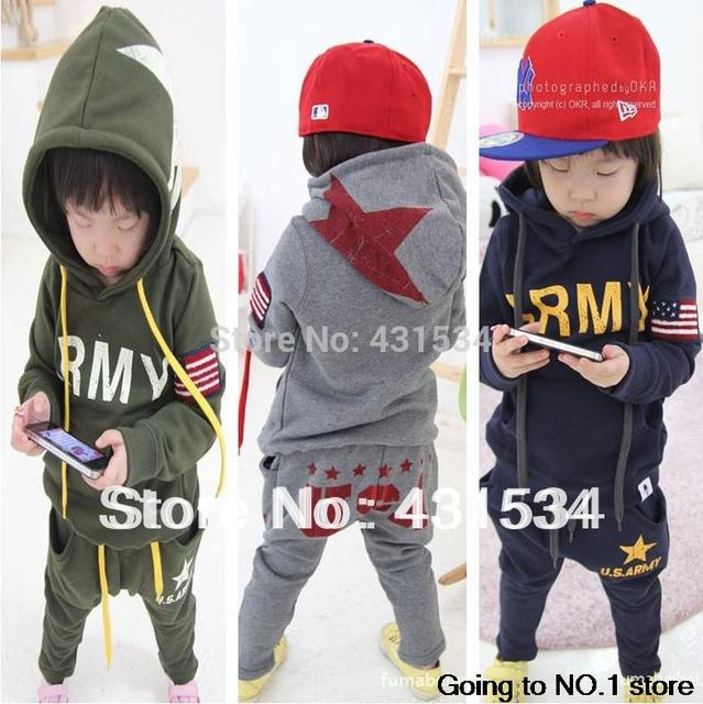 Retail boys clothing sets children's suits autumn and winter long-sleeved sport suit baby clothes kids wear free shipping