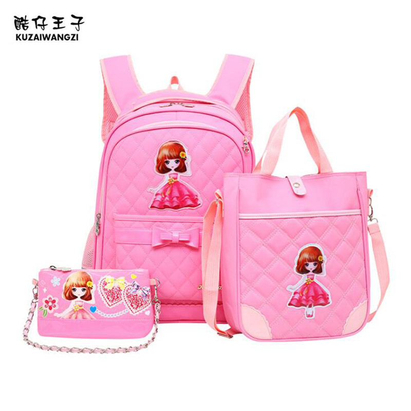 KZWZ Preppy Style Girls Schoolbag 3 Piece Set Princess Bag Bowknot 2-6 Grade Childrens B ...