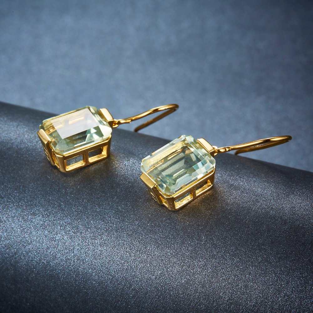 Hutang Hoop kolczyki 11.14ct naturalny kamień zielony ametyst stałe 925 Sterling srebrny żółty złoty Fine Jewelry dla kobiet prezent w Kolczyki od Biżuteria i akcesoria na  Grupa 3