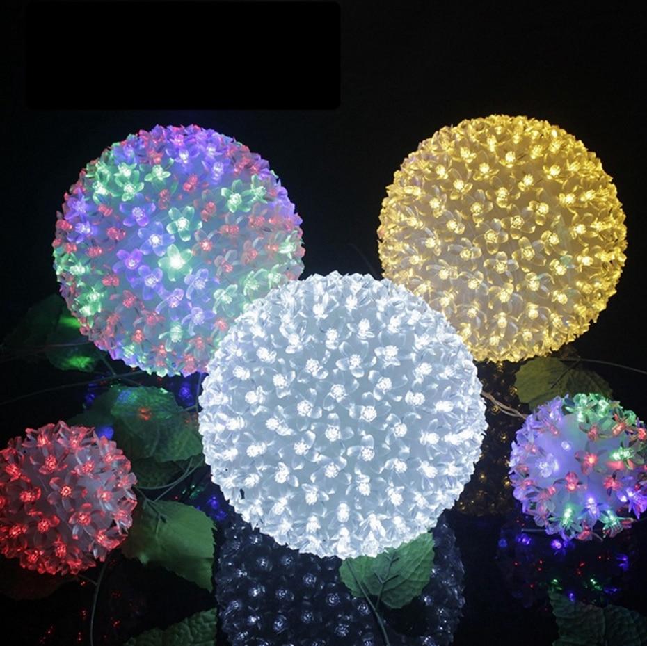 YINGTOUMAN NEW 2018 Sakura Big Ball LED Lamp 220v Plugs Party Bar Holiday Garden Christmas Light Party Decoration Lights 200led