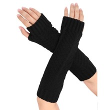 Women Arm Warmers Half Finger Knitted Fingerless Gloves Winter