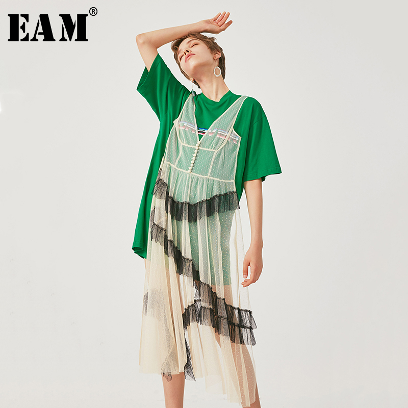 [EAM] 2020 New Spring Summer Round Neck Short Sleeve Green Mesh Split Joint Big Size Temperament Dress Women Fashion Tide JU724