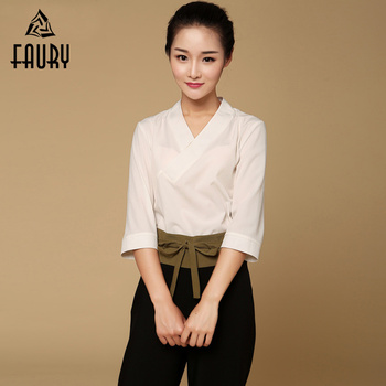 Women Spa Uniform Thai Massage Health Overalls Nurses Suits Wholesale Beauty Salon Work Clothes V Neck Shirt Long Wide-Leg Pants