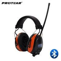 Protear DAB DAB FM Radio Hearing Protector 25dB Lithium Battery Earmuffs Electronic Bluetooth Headphone Ear Protection