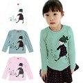 Adorável cozy baby girl tops camisa crianças criança criança outono de algodão macio t-shirt tee 2-7 y ql