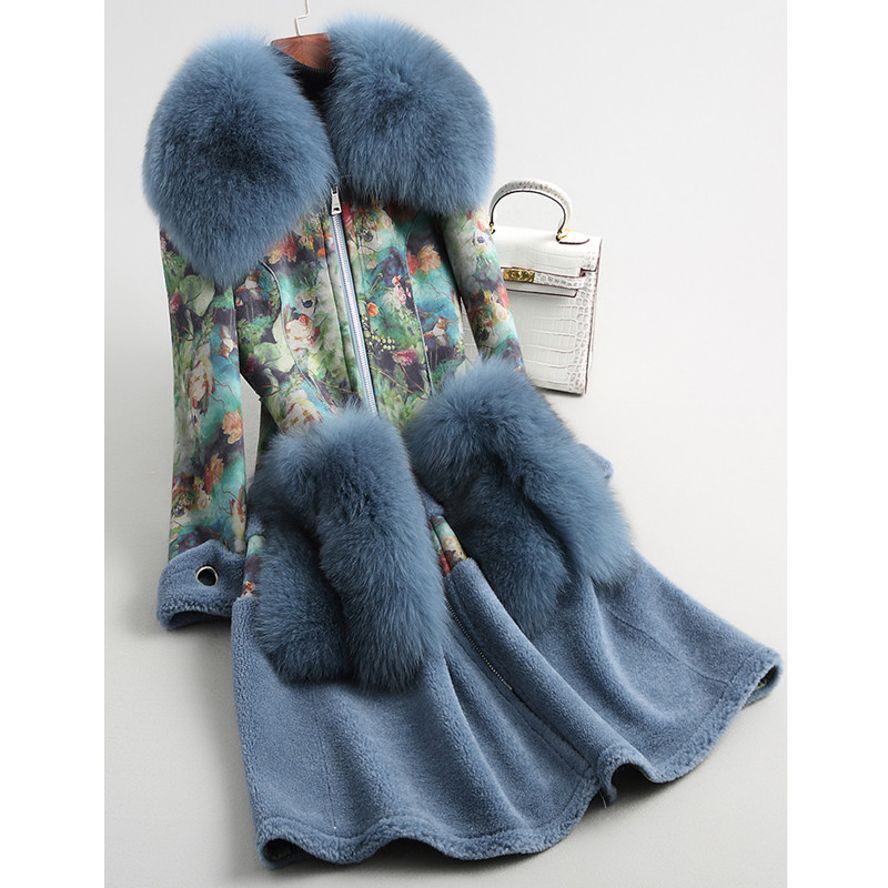 S XL Fashion Women Fox Fur Collar Wool Fur Coat Real Sheep Fur Thick Warm Outerwear Ladies Print Suede Fabric Long Jackets in Real Fur from Women 39 s Clothing