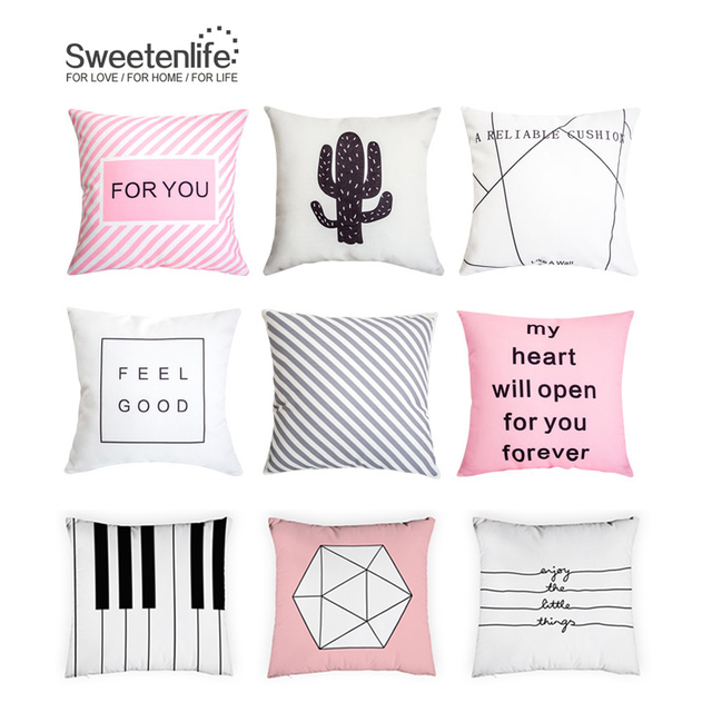 Sweetenlife Decorative Pillows Pink Throw Pillow Case Cover 2018 New Sofa Cushion Whole Cushions Home Decor