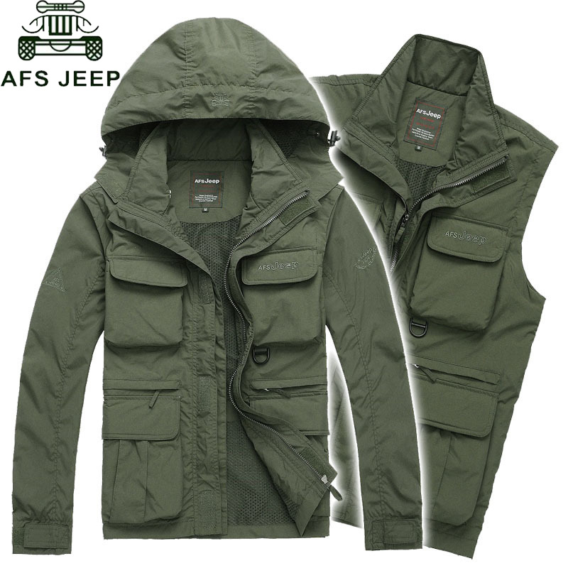 AFS JEEP Brand Sleeves Detachable Military Jacket Men Winter Windproof Waterproof Jackets Camouflage Tactical Coat Plus Size 4XL