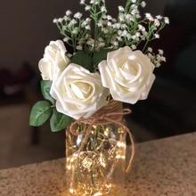 купить 10Pcs 8cm Fake Flower Foam Rose Artificial Flower Bride Bouquet For DIY Birthday Party Home Decorative Wedding Decoration Flower дешево