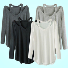 Women's V-neck Plus Size Tops Loose Long Sleeve T-Shirt Casual Dress Tee Store111