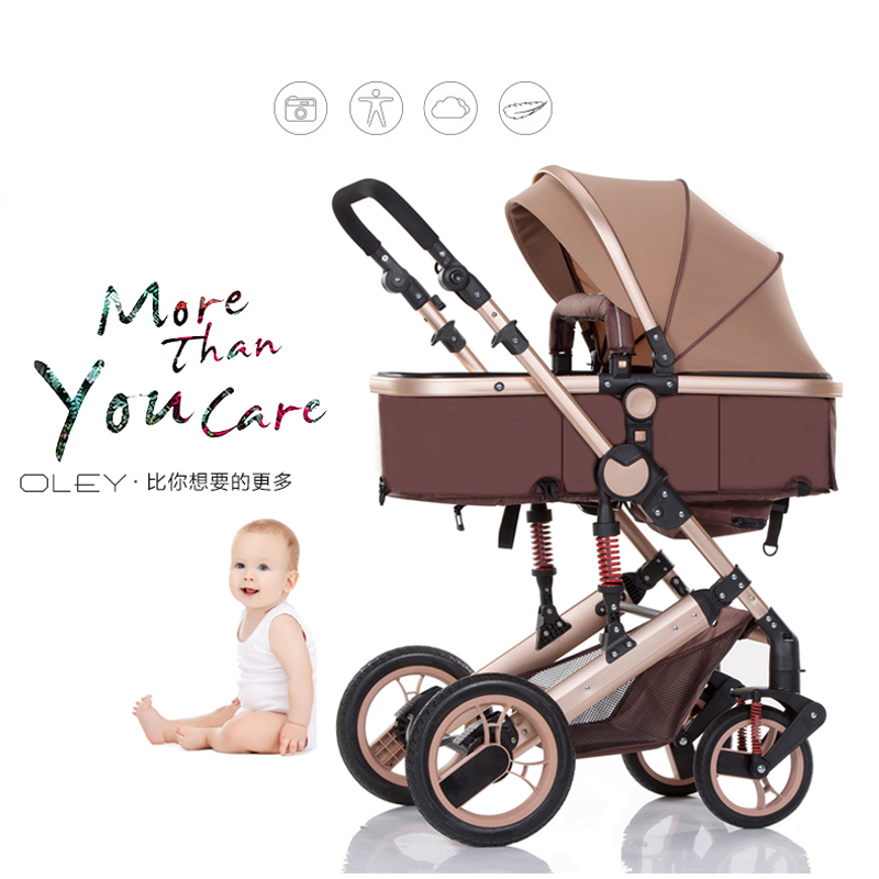 Brands Baby stroller high landscape newborn folding four wheel shock baby hand push children baby cart 2 in 1 Pram stroller 18k rose gold plated rhinestone awesome swan stud earrings golden pair