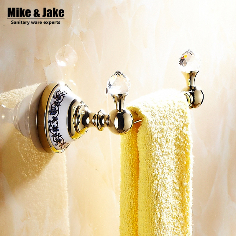 luxury golden crystal solid brass towel rail single towel bar bathroom towel holder bathroom accessories 18cm - Bathroom Accessories Towel Rail