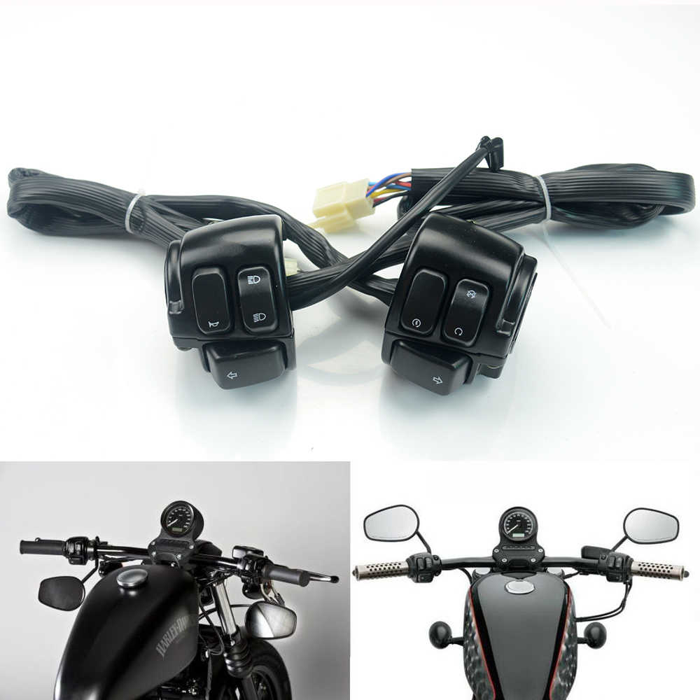 motorcycle 1 25m handlebar control switch with wiring harness for 1996 2012 harley dyna [ 1000 x 1000 Pixel ]