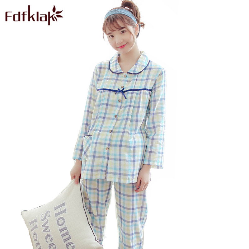 Fdfklak Long Sleeve Maternity Mightwear Spring Autumn Plaid Cotton For Feeding Clothes Maternity Nurse Pajama Sleepwear Sets F94