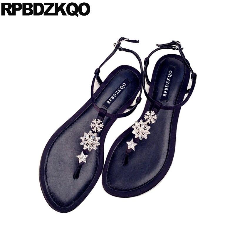 217fd85b3c352c Wedding 2018 Summer Diamond Designer Strap T Silver Cheap Sandals Flat Jewel  Women Thong Rhinestone Shoes ...