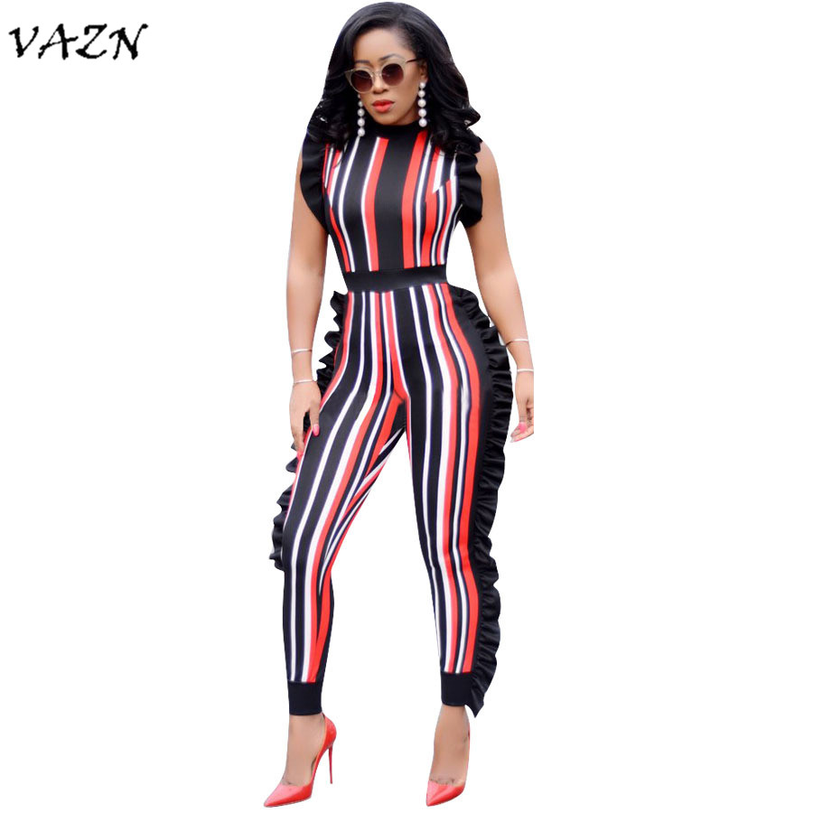 VAZN 2018 Hot Sale Exotic Designer New Fashion Women   Jumpsuit   Striped Ruffles Sleeveless Full Length   Jumpsuits   DN8055