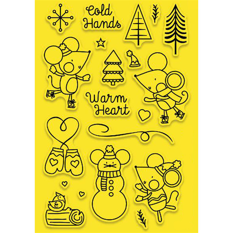 Cute Mouse Snowman Tree Metal Cutting Dies and Clear Stamps for Scrapbooking New 2019 Die Cuts Card Making Craft Stitch