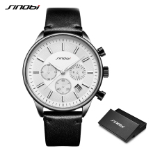 SINOBI Men Watches Analog Date Clock Quartz Wristwatch Army Military Luxury Brand Sport Leather Watch Relogio