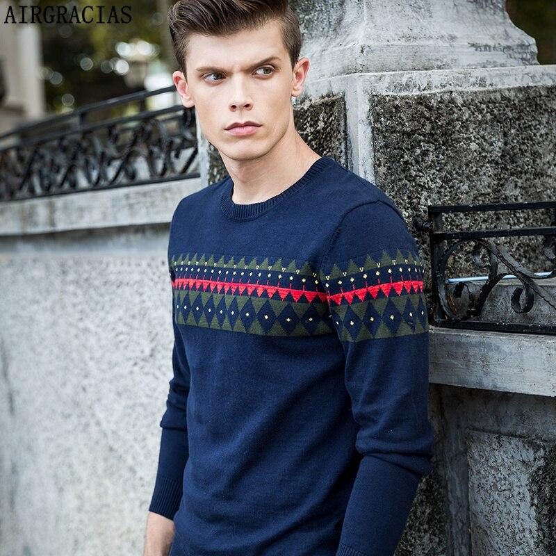AIRGRACIAS Alta calidad 100% algodón suéter hombres otoño invierno - Ropa de hombre