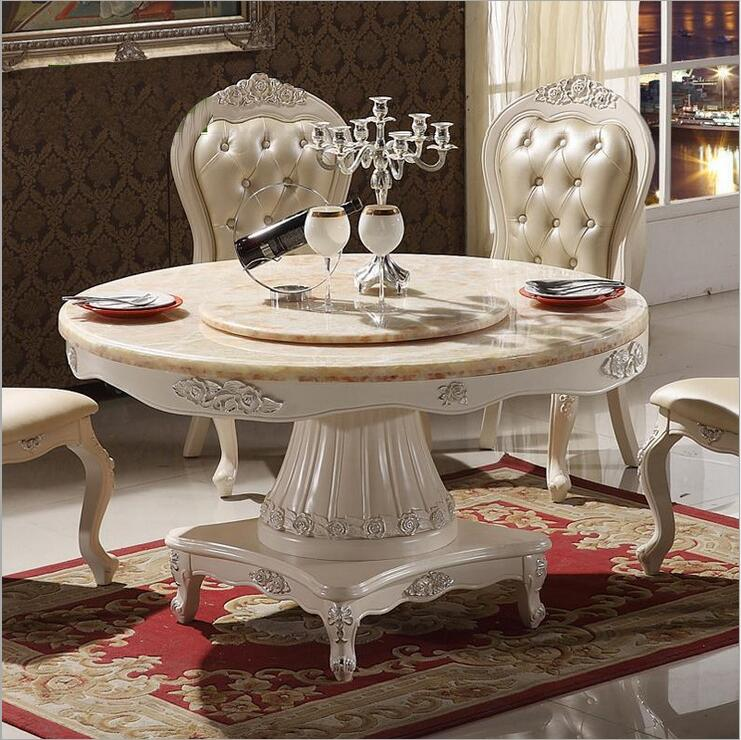 Mobilya'ten Yemek Odası Setleri'de Modern Stil İtalyan yemek masası  100% katı ahşap İtalya Tarzı Lüks yuvarlak yemek masası seti o1237 title=