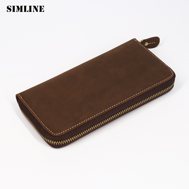 SIMLINE Genuine Leather Men Wallet Male Vintage Crazy Horse Cowhide Long Zipper Wallets Card Holder Clutch Bag Phone Coin Pocket simline vintage genuine leather cowhide men male short slim mini thin zipper wallet wallets purse card holder coin pocket case