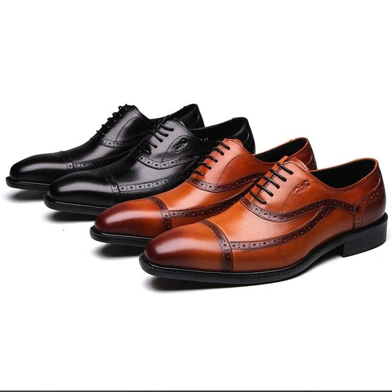 2019 marke Neue Echtem Leder Männer Formale Schuhe Spitz Spitze Bis Geschäfts Männer Oxford Schuhe Schwarz Braun Luxus Schuhe männlichen-in Formelle Schuhe aus Schuhe bei  Gruppe 3