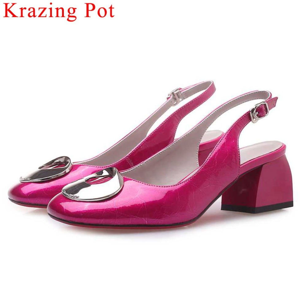 Krazing Pot real cow leather chunky heels classic square toe metal decoration slingback women pumps buckle