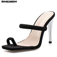 TINGHON Gladiator Fashion Summer Flock Thin High Heel Slippers Women Open Toe Transparent Shallow Casual Black Shoes Size 35-40