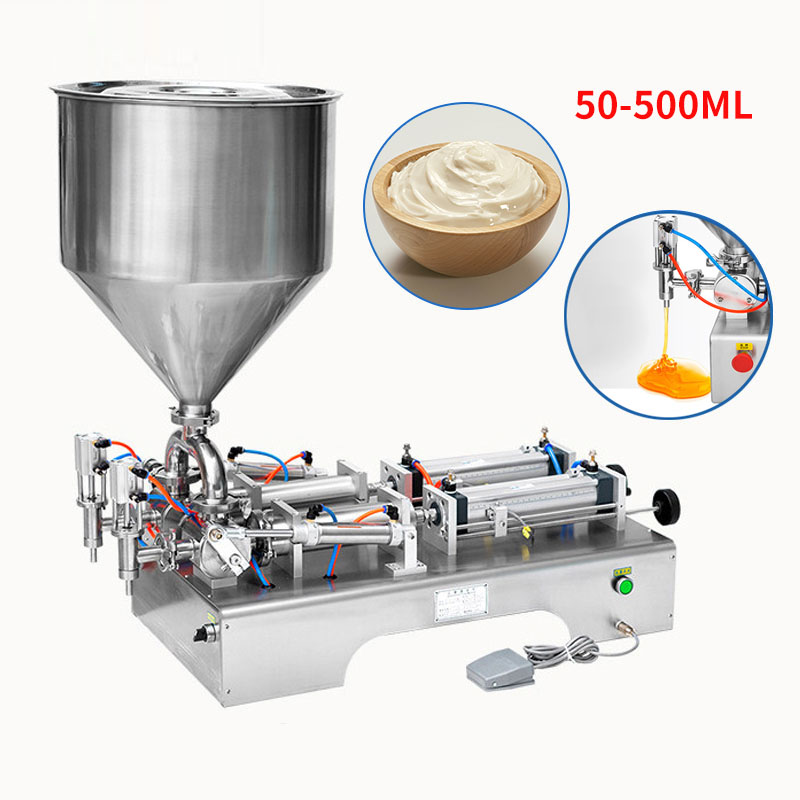 50-500ML Electric Pneumatic Double Head Paste Filling Machine Bee Toothpaste Sauce Skin Care Product Filling Machine