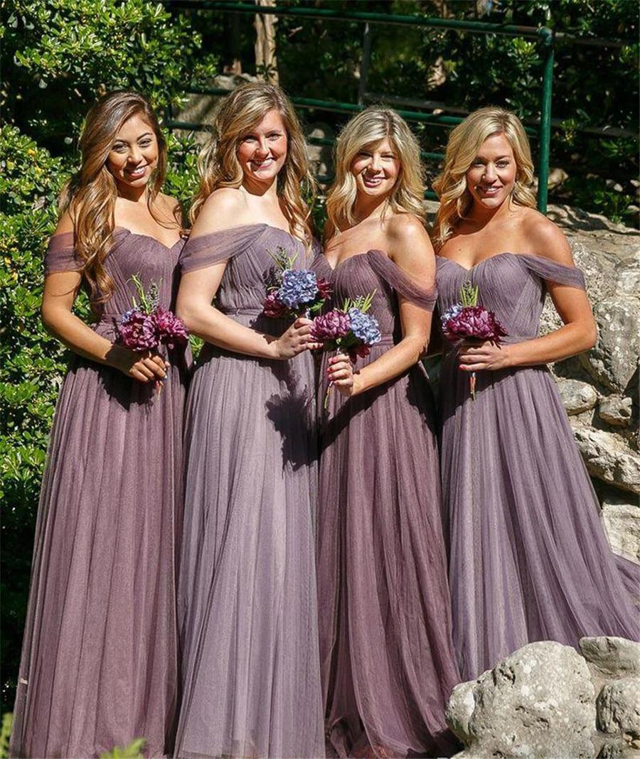 Charming Pleat Tulle Long   Bridesmaid     Dresses   Boat Neck Off The Shoulder A Line Sexy   Bridesmaid   Gowns 2019 Vestido De Festa Cheap