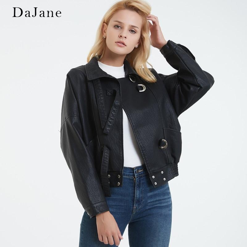 DaJane New Korean Version Of The Loose Bf Fan Car PU   Leather   Women Short   Leather   Jacket Small Coat Harajuku Tide