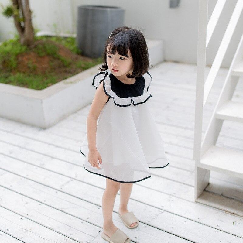 Summer Baby girls princess dresswhite colour sweet girl dress ruffles collar design  kids dresses for girls girl
