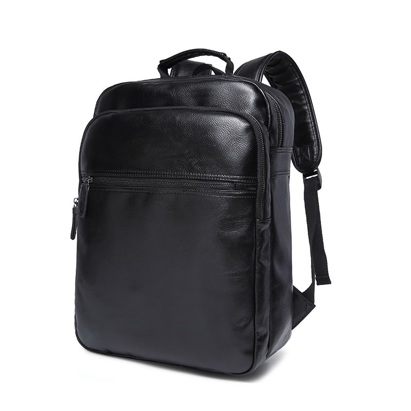 ФОТО Men Backpack Travel Bag PU Leather Backpack Student School Bags for Teenagers Famous Brands Men Laptop Backpack