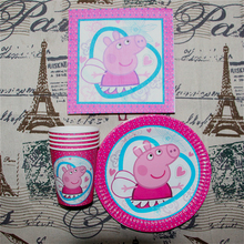 60pcs Pink Pig Theme 20pcs paper cups+ 20pcs plates+20pcs Napkin Kids Birthday Party Decoration Set(China)