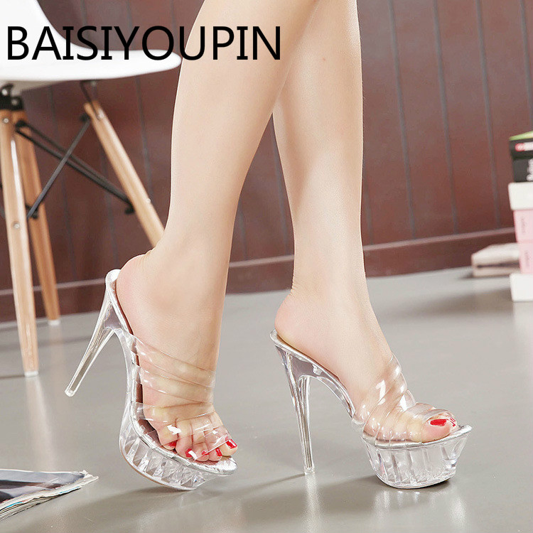 New Women Sexy Transparent Ladies High Heels Sandals Female Paltform Fish Mouth Shoes Large Size 42 43 Women's Shoes summer new models of fish mouth women sandals large size 40 43 yards shoes waterproof platform high heels female sandals obuv