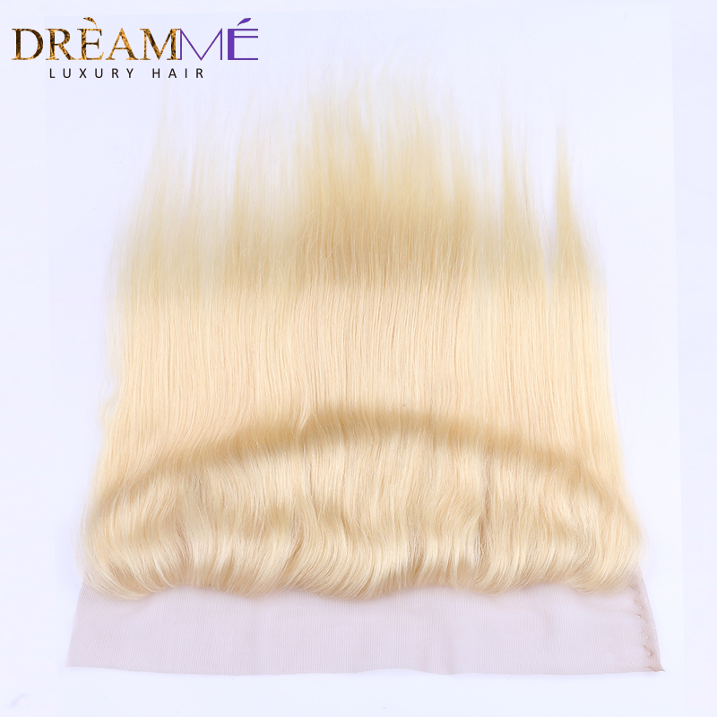 613 Blonda Lace Frontal Closure Hair Straight Brazilian 13x4 - Păr uman (pentru negru)
