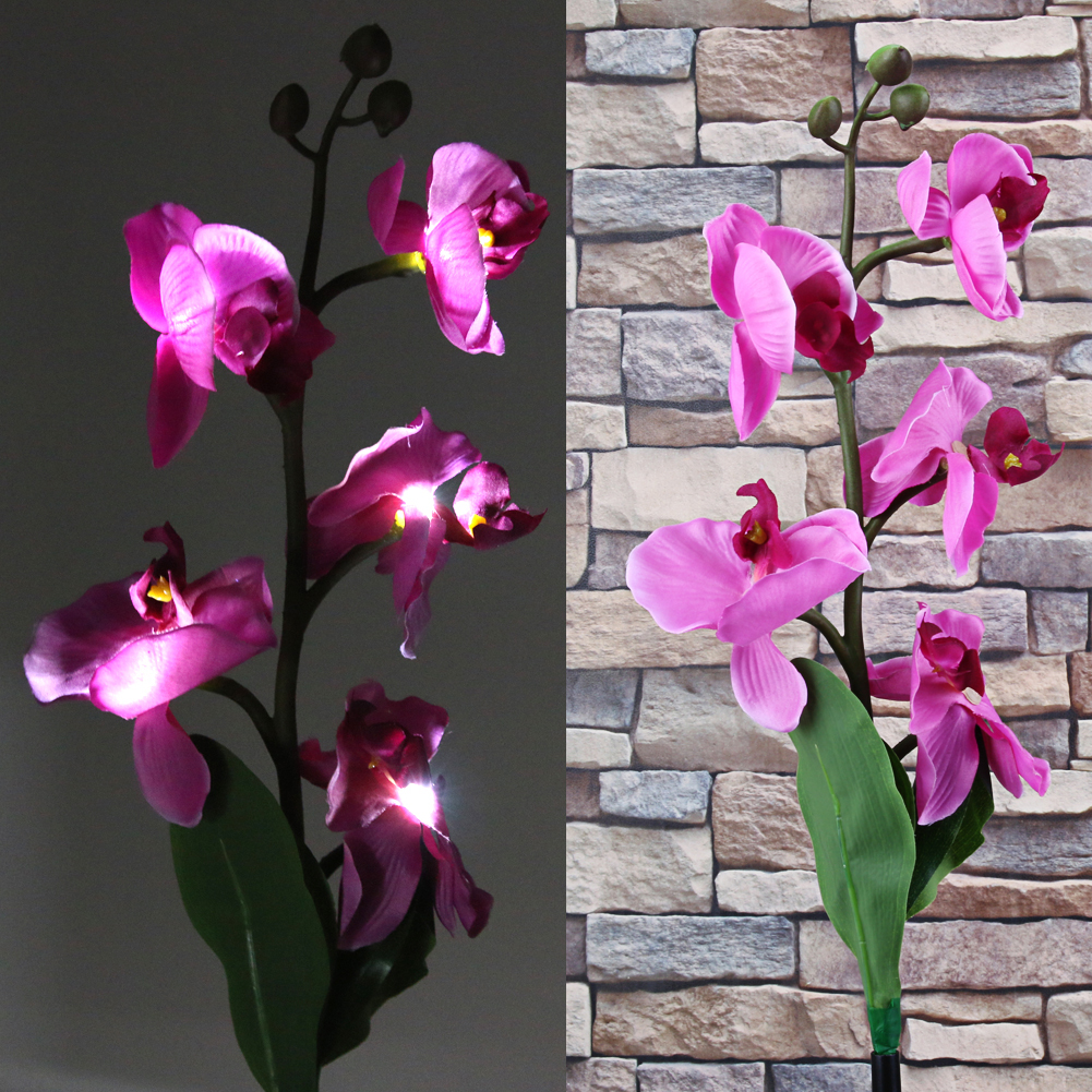 Outdoor Solar Powered Orchid Flower Lamp with LED Light