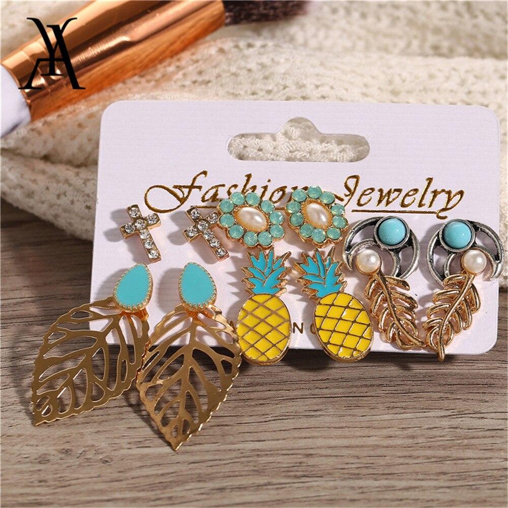 Cute Romantic Women Dorp Earrings Set Pineapple Flower Leaves Cross Stone Mixed Earrings Statement Fashion Jewelry Wholesale