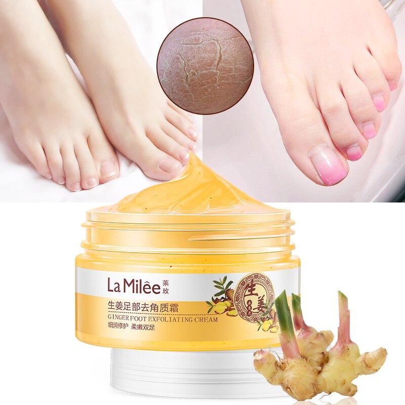 LAMILEE Feet Care Ginger Essence Exfoliating Massage Cream Softening Scrub Foot Massage Cream Feet Care Skin Repairing 110g