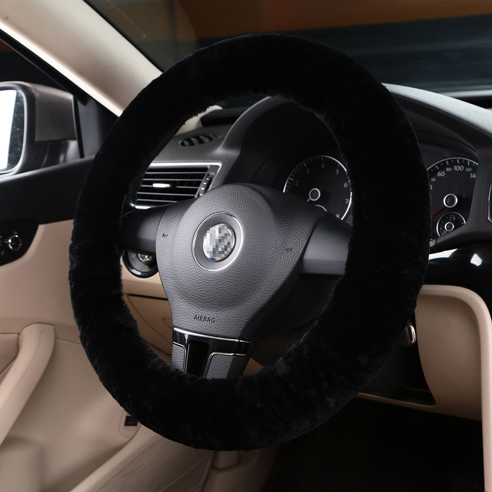 100% natural sheepskin wool stretch on winter car steering wheel100% natural sheepskin wool stretch on winter car steering wheel cover 36 38 40cm black interior accessories autostyling in steering covers from automobiles