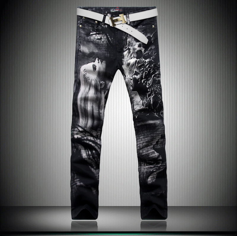 ФОТО Brand Mens Jeans Straight Black Color Character design Printed Jeans For Men Fashion Designer Large Size 28-36 free shipping