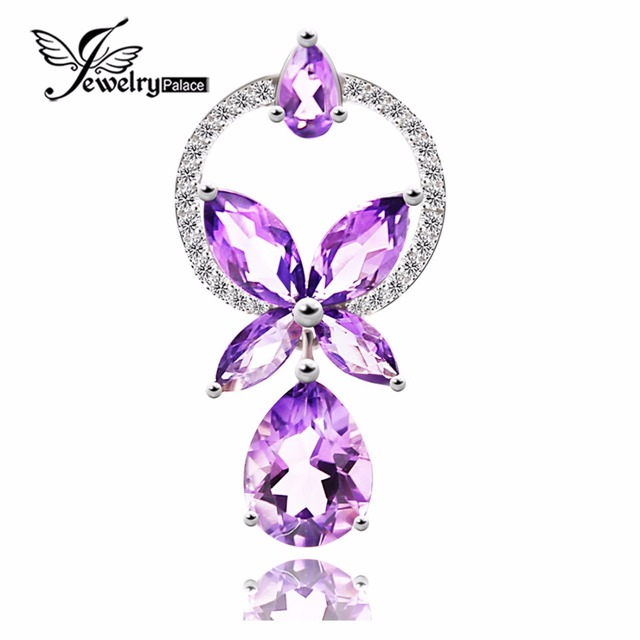 Wholesale Natural Stone Amethyst Pendants Real Pure Solid 925 Sterling Silver Jewelry For Women Charms Gift Fashion Bijouterie