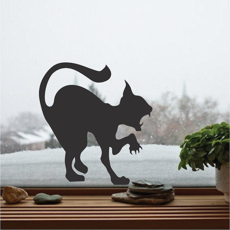 Attacking Cat Silhouette Wall Sticker Scary Cat Vinyl