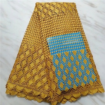 Free Shipping 2019 high quality african cord lace fabric, yellow  chemical lace For Nigeran Wedding guipure lace fabric(16L-4-19